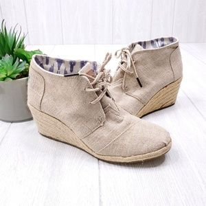 Toms Desert Wedge Lace Up Booties Size 9.5